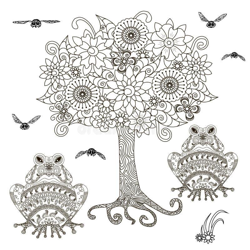 Ανθίζοντας δέντρο με τη μέλισσα, διακοσμητικός βάτραχος για το χρωματισμό του βιβλίου, στοιχεία σχεδίου απεικόνιση αποθεμάτων