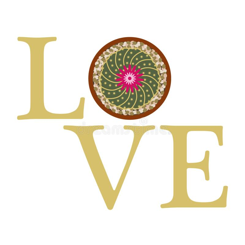 Ανθίζοντας κάκτος Μήνυμα αγάπης r διανυσματική απεικόνιση