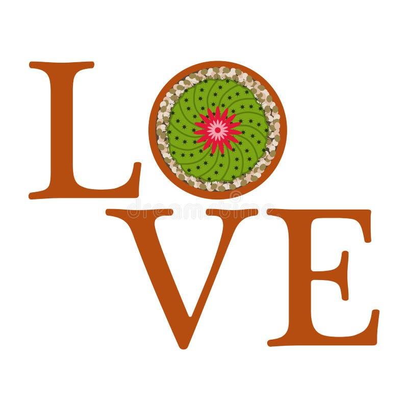 Ανθίζοντας κάκτος Μήνυμα αγάπης r απεικόνιση αποθεμάτων