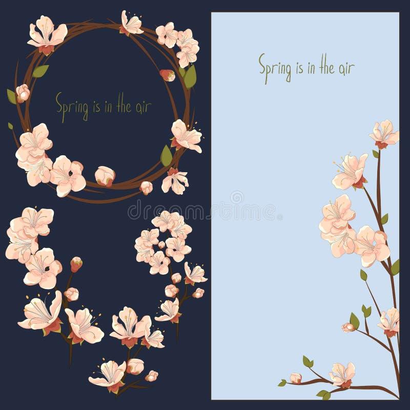 Ανθίζοντας λουλούδια, κάρτα και στοιχεία άνοιξη διανυσματικά καθορισμένα απεικόνιση αποθεμάτων