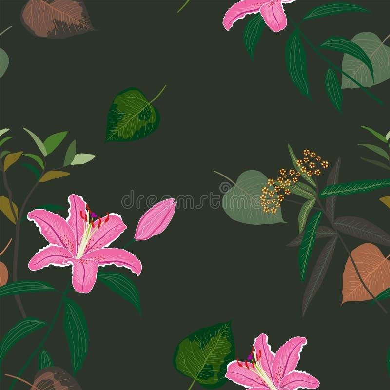 Ανθίζοντας όμορφο γλυκό ρόδινο άνευ ραφής σχέδιο κρίνων, εξωτικά τροπικά φύλλα στο σκοτεινό υπόβαθρο θερινής νύχτας απεικόνιση αποθεμάτων