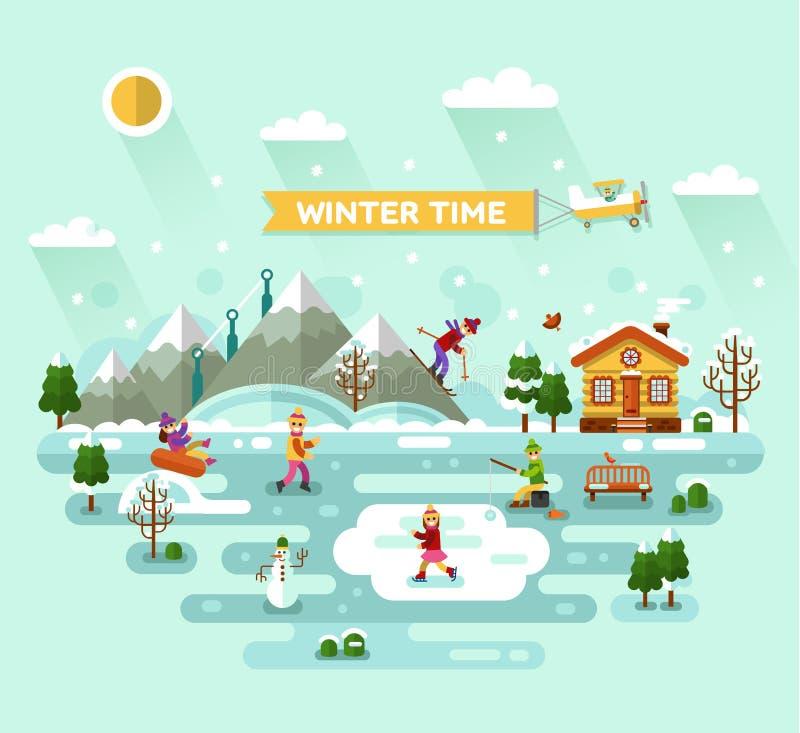 ανθίστε το χρονικό χειμώνα χιονιού απεικόνιση αποθεμάτων