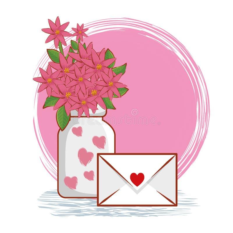 Ανθοδέσμη λουλουδιών μέσα στο βάζο με την κάρτα αγάπης διανυσματική απεικόνιση