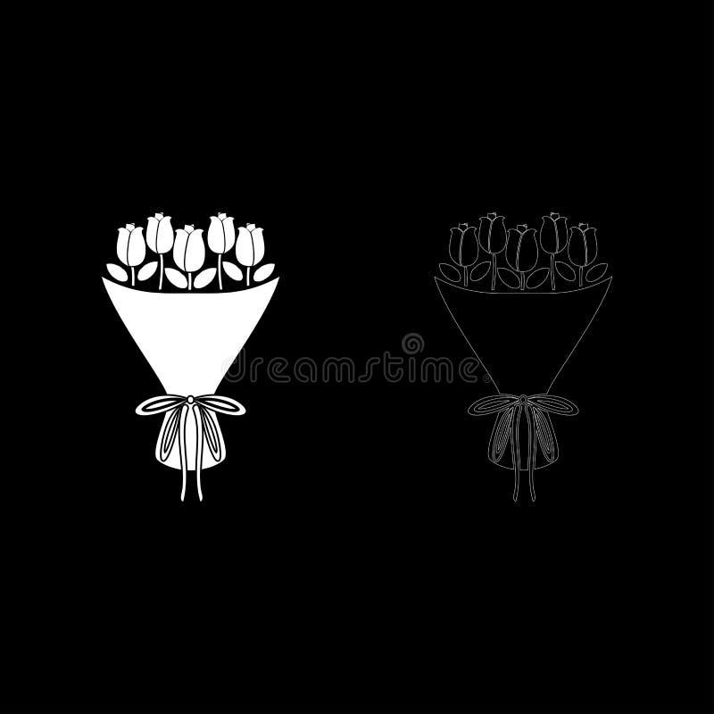 Ανθοδέσμη της ανθοδέσμης λουλουδιών της παρούσας ανθοδέσμης έννοιας τριαντάφυλλων της ροδαλής λουλουδιών εικονιδίων διανυσματικής διανυσματική απεικόνιση