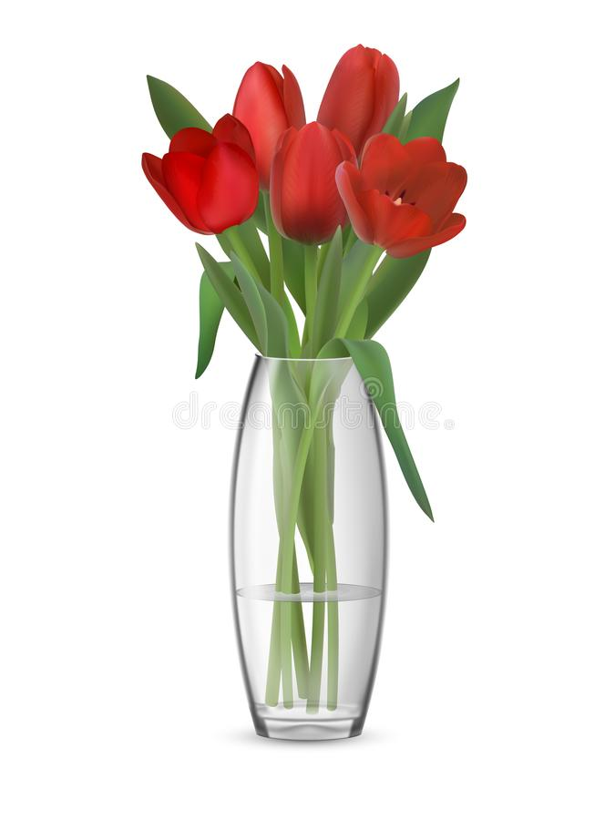 Ανθοδέσμη των κόκκινων τουλιπών στο βάζο γυαλιού διανυσματική απεικόνιση