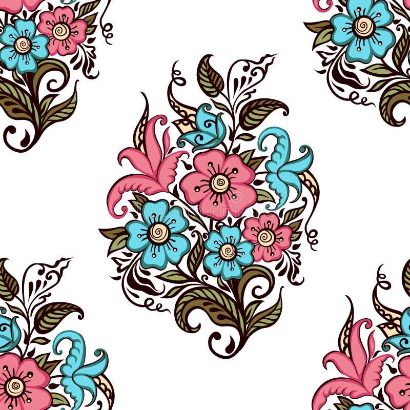 Ανθοδέσμη των λουλουδιών Άνευ ραφής σχέδιο της ανθοδέσμης των διακοσμητικών λουλουδιών σε ένα άσπρο υπόβαθρο απεικόνιση αποθεμάτων