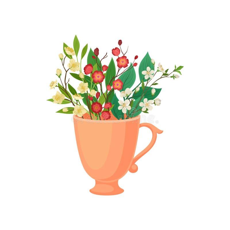 Ανθοδέσμη των μικρών λουλουδιών σε μια κούπα E διανυσματική απεικόνιση