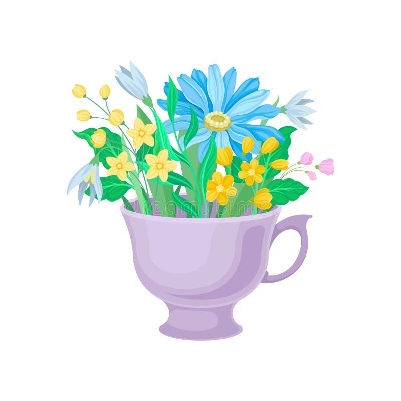 Ανθοδέσμη των μπλε και κίτρινων λουλουδιών σε μια κούπα E διανυσματική απεικόνιση