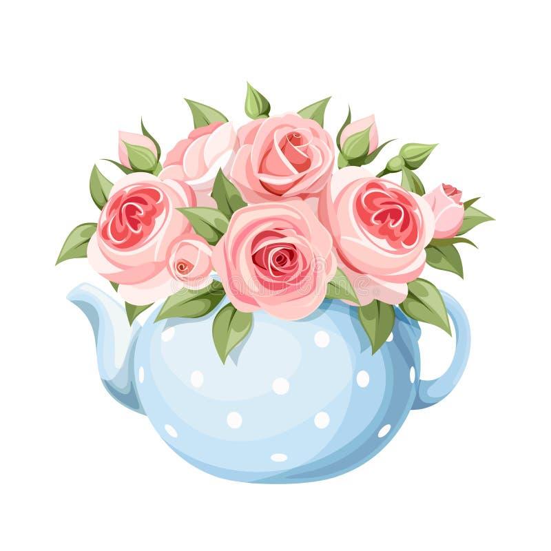 Ανθοδέσμη των ρόδινων τριαντάφυλλων μπλε teapot επίσης corel σύρετε το διάνυσμα απεικόνισης ελεύθερη απεικόνιση δικαιώματος