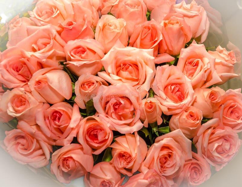 Ανθοδέσμη των τριαντάφυλλων λουλουδιών κορυφαία όψη στοκ εικόνα με δικαίωμα ελεύθερης χρήσης