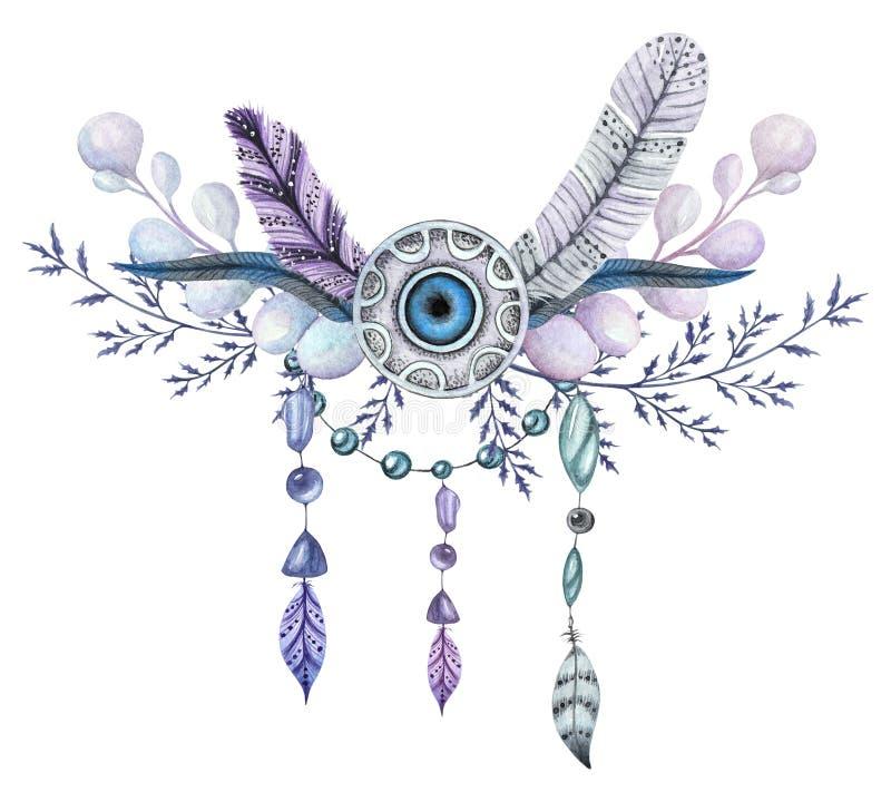 Ανθοδέσμη Watercolor με τους κλάδους, απεικόνιση φτερών απεικόνιση αποθεμάτων