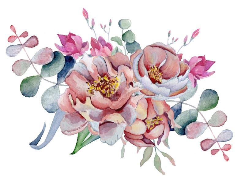 Ανθοδέσμη Watercolor με το anemone, peonies λουλούδια και χορτάρια διανυσματική απεικόνιση