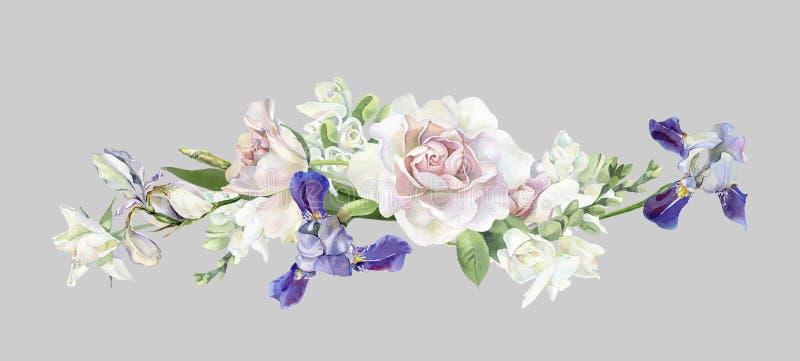 Ανθοδέσμη Watercolor των τριαντάφυλλων και των ίριδων ελεύθερη απεικόνιση δικαιώματος