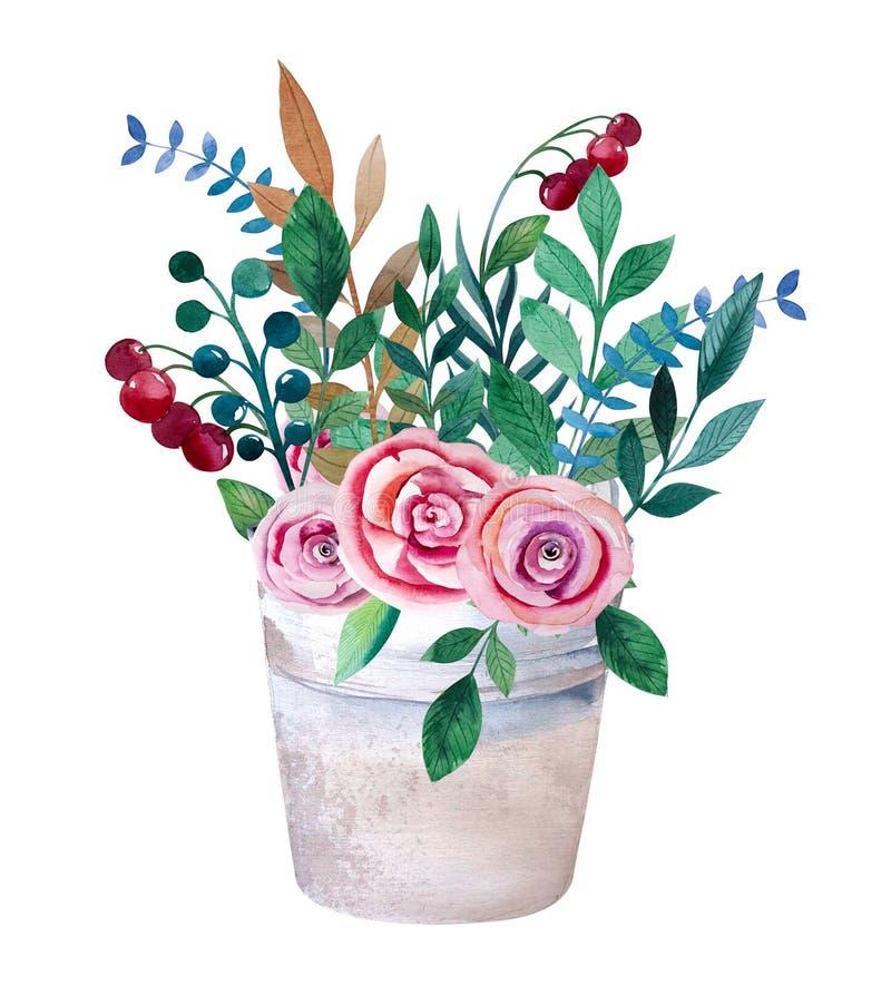 Ανθοδέσμες Watercolor των λουλουδιών στο δοχείο αγροτικός ελεύθερη απεικόνιση δικαιώματος