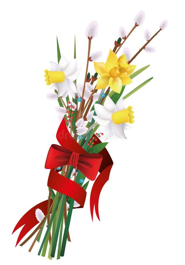 ανθοδέσμη νάρκισσοι, ιτιά γατών, λουλούδια, κορδέλλα, ελεύθερη απεικόνιση δικαιώματος