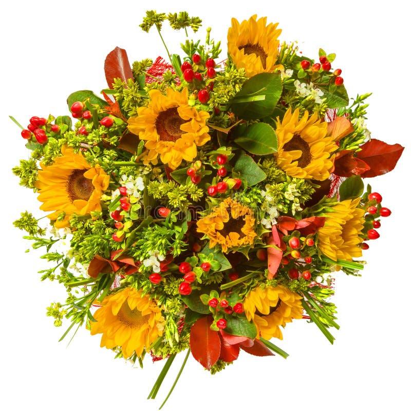 Ανθοδέσμη της τοπ άποψης λουλουδιών που απομονώνεται στο λευκό στοκ εικόνα