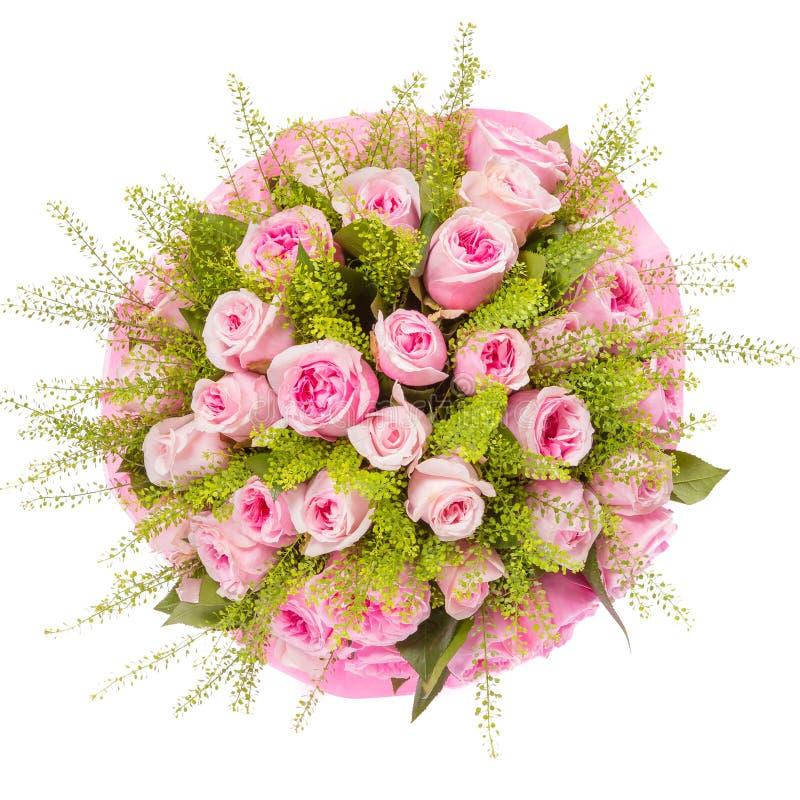 Ανθοδέσμη της τοπ άποψης λουλουδιών που απομονώνεται στο λευκό στοκ εικόνες