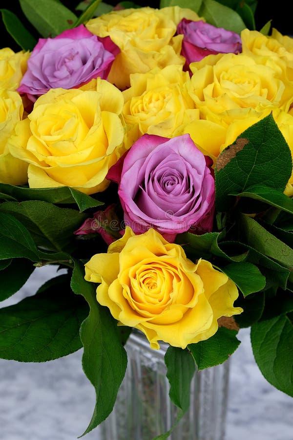 Ανθοδέσμη των κίτρινων τριαντάφυλλων με την πορφύρα τρία στο βάζο γυαλιού στοκ φωτογραφία