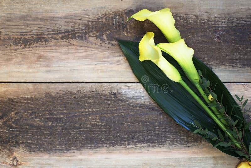 Ανθοδέσμη των κίτρινων calla κρίνων στοκ εικόνες με δικαίωμα ελεύθερης χρήσης