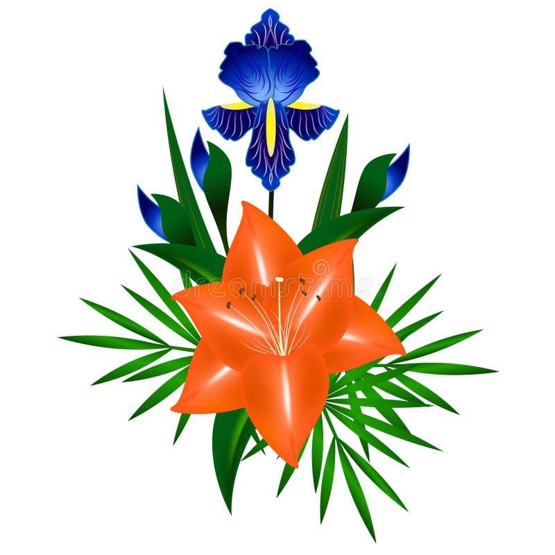 Ανθοδέσμη των λουλουδιών, της ίριδας και του κρίνου ελεύθερη απεικόνιση δικαιώματος