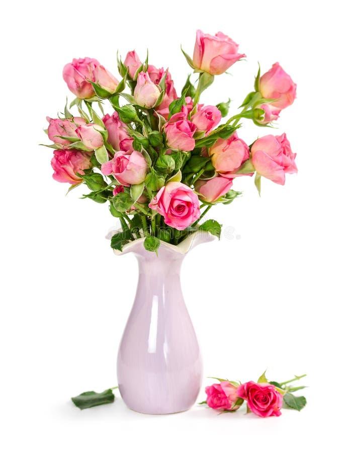 Ανθοδέσμη των ρόδινων τριαντάφυλλων vase στοκ φωτογραφία με δικαίωμα ελεύθερης χρήσης