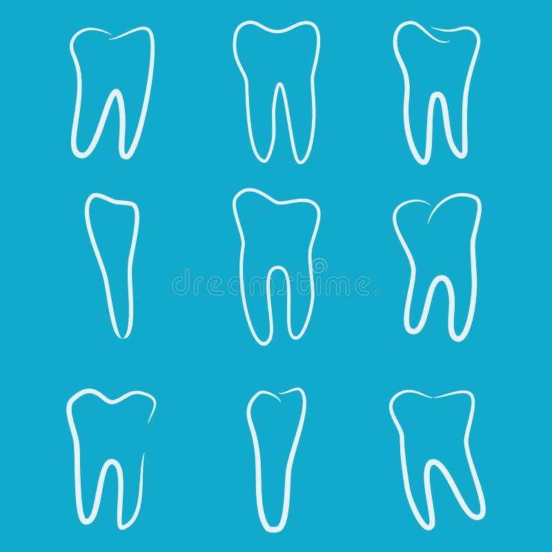 Ανθρώπινα εικονίδια δοντιών που τίθενται στο μπλε υπόβαθρο για την οδοντική κλινική ιατρικής Γραμμικό λογότυπο οδοντιάτρων διάνυσ διανυσματική απεικόνιση