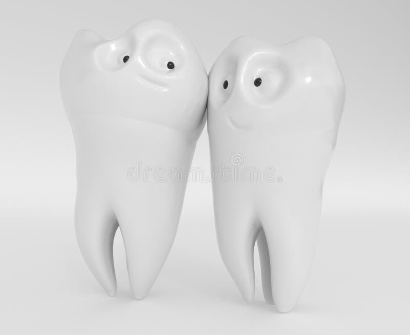Ανθρώπινα κινούμενα σχέδια δοντιών - τρισδιάστατη απόδοση διανυσματική απεικόνιση