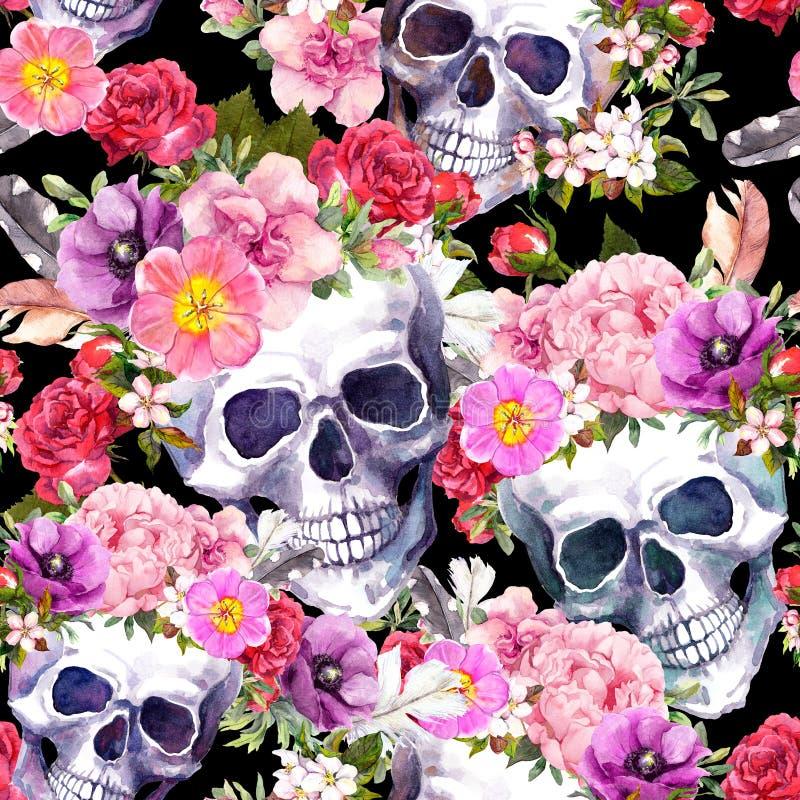 Ανθρώπινα κρανία, λουλούδια πρότυπο άνευ ραφής watercolor απεικόνιση αποθεμάτων