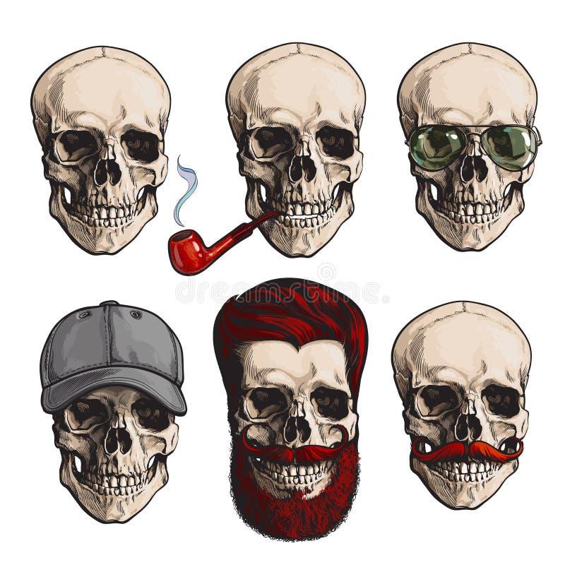Ανθρώπινα κόκκαλα κρανίων με τα γυαλιά ηλίου, γενειάδα, moustache, καπνίζοντας σωλήνας απεικόνιση αποθεμάτων