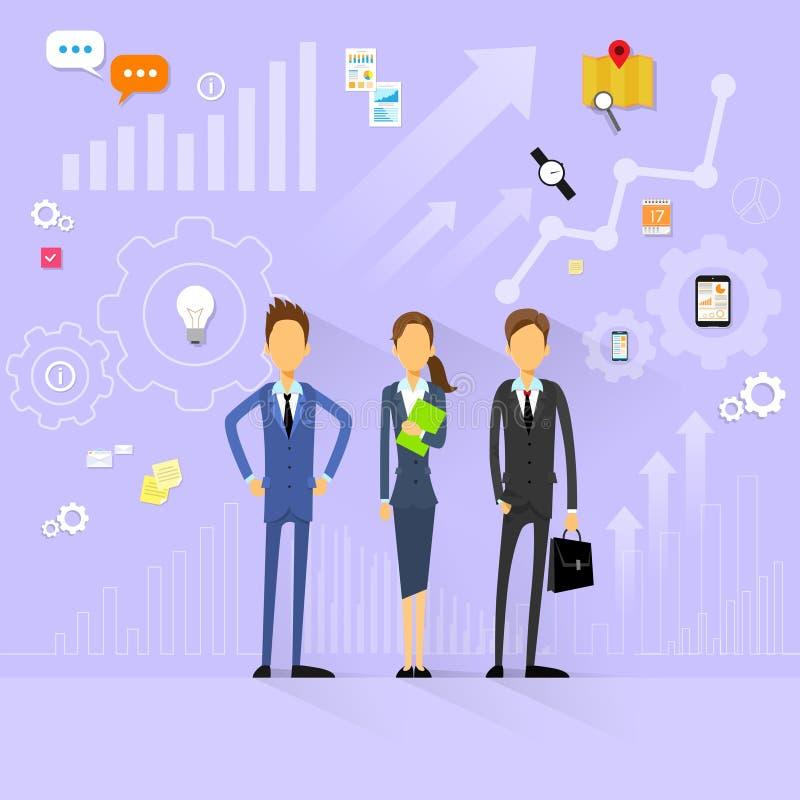 Ανθρώπινα δυναμικά διευθυντών ομάδων επιχειρηματιών επίπεδα ελεύθερη απεικόνιση δικαιώματος