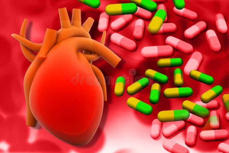 Ανθρώπινα φάρμακα καρδιών και διαποδιαμορφωτών διανυσματική απεικόνιση