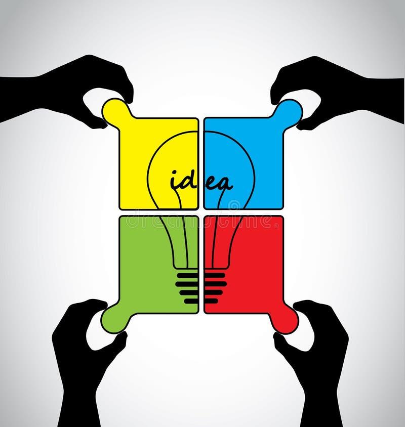 Ανθρώπινα χέρια γρίφων τορνευτικών πριονιών ιδέας ομαδικής εργασίας απεικόνιση αποθεμάτων