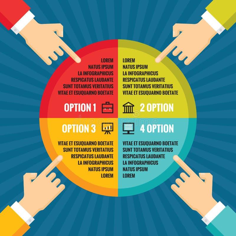 Ανθρώπινα χέρια με το χρωματισμένο κύκλο - infographic επιχειρησιακή έννοια - διανυσματική απεικόνιση έννοιας στο επίπεδο σχέδιο  ελεύθερη απεικόνιση δικαιώματος