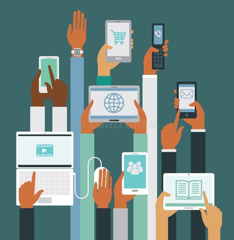 Ανθρώπινα χέρια που κρατούν τις διάφορες έξυπνες συσκευές ελεύθερη απεικόνιση δικαιώματος