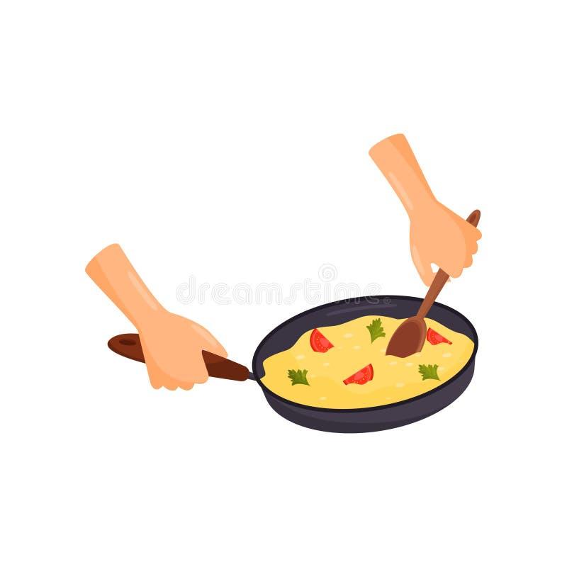 Ανθρώπινα χέρια που κρατούν το τηγάνι με ένα εύγευστο πιάτο, που μαγειρεύει την απεικόνιση διαδικασίας διανυσματική σε ένα άσπρο  ελεύθερη απεικόνιση δικαιώματος