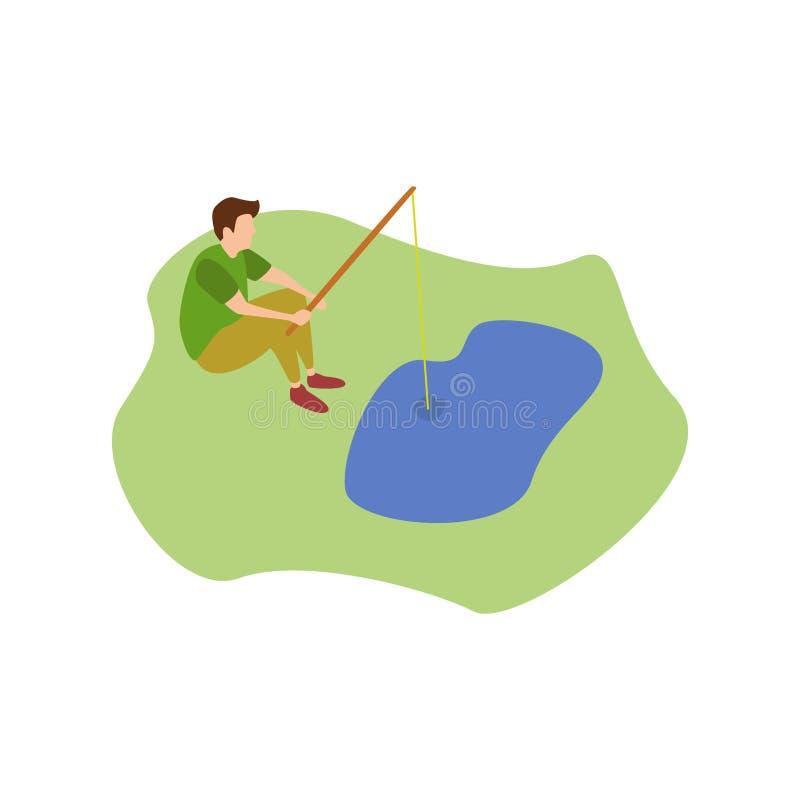Ανθρώπινη αλιεία χόμπι απεικόνιση αποθεμάτων