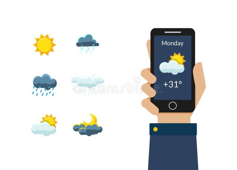 Ανθρώπινη εκμετάλλευση Smartphone χεριών με την εφαρμογή πρόγνωσης καιρού, τον ήλιο, τα σύννεφα, το σχέδιο καταιγίδας, νύχτας και διανυσματική απεικόνιση