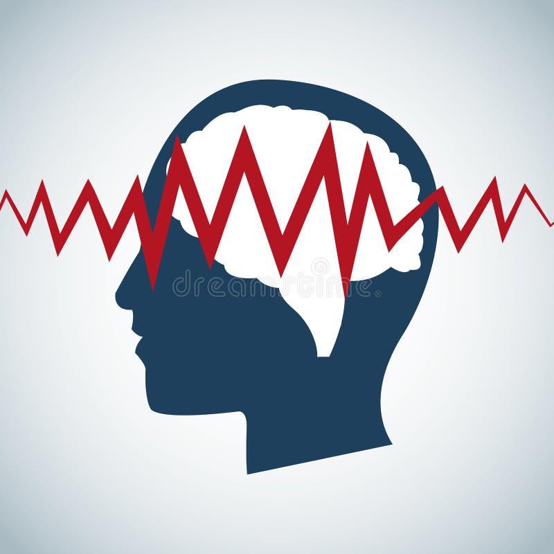 Ανθρώπινη επικεφαλής προσοχή σφυγμού εγκεφάλου διανυσματική απεικόνιση