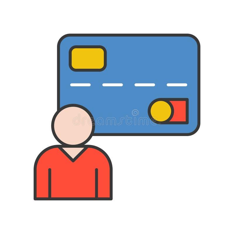 Ανθρώπινη και πιστωτική κάρτα, προσωπικά στοιχεία ή χρήστης, τράπεζα και οικονομικός απεικόνιση αποθεμάτων
