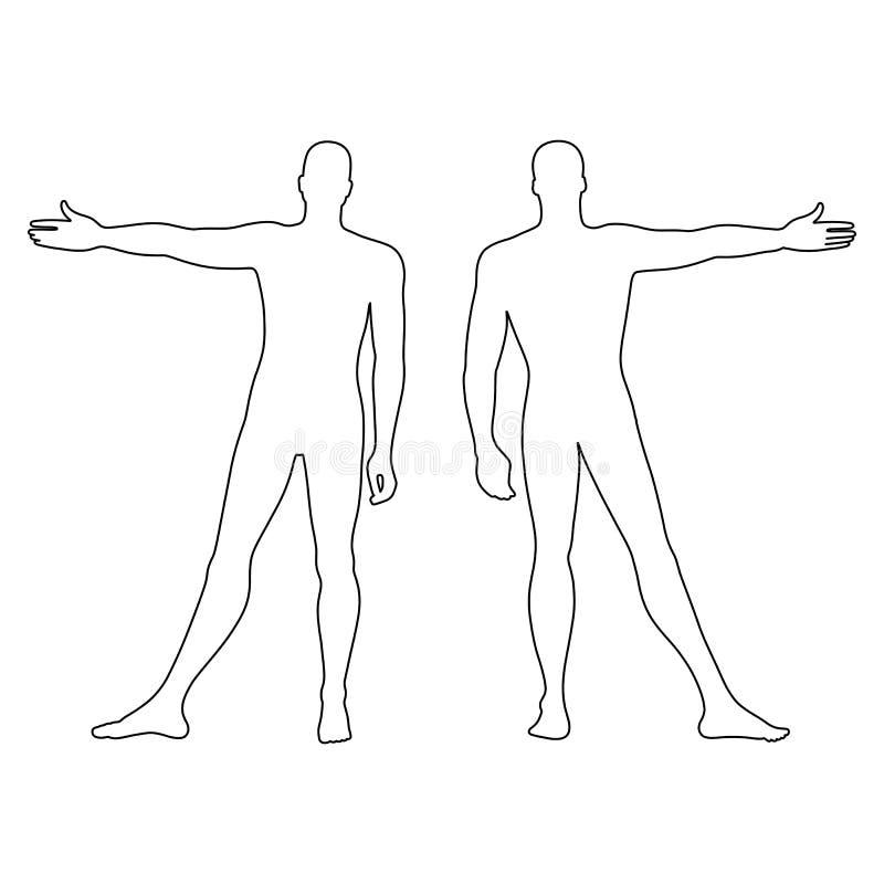 Ανθρώπινη περιγραμμένη σκιαγραφία αριθμού προτύπων μόδας (μέτωπο & πλάτη ελεύθερη απεικόνιση δικαιώματος