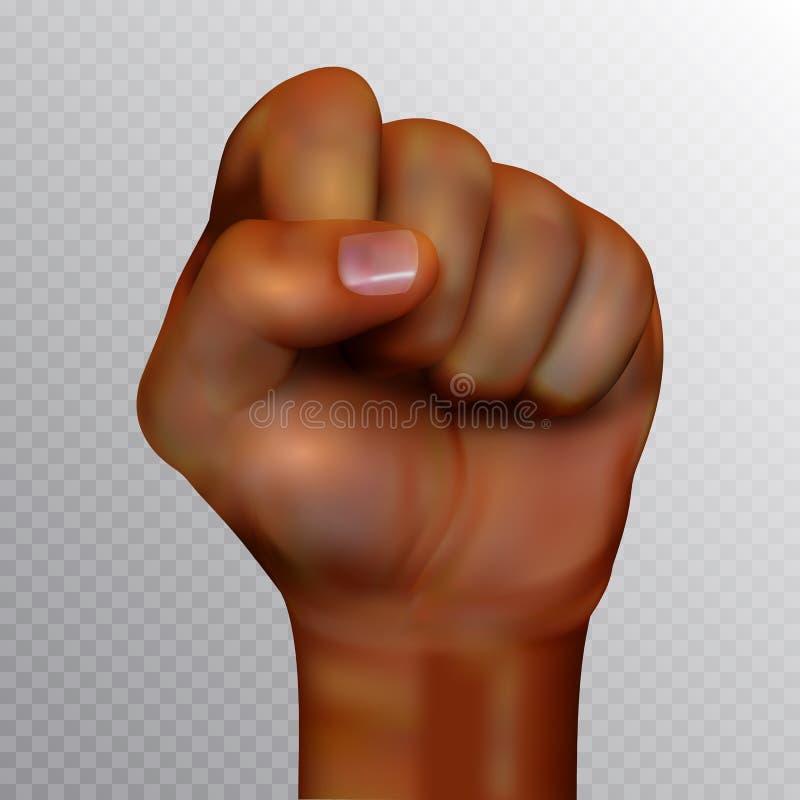 Ανθρώπινη πυγμή αφροαμερικάνων που αυξάνεται επάνω απομονωμένος στο διαφανές υπόβαθρο Ρεαλιστική διανυσματική απεικόνιση απεικόνιση αποθεμάτων