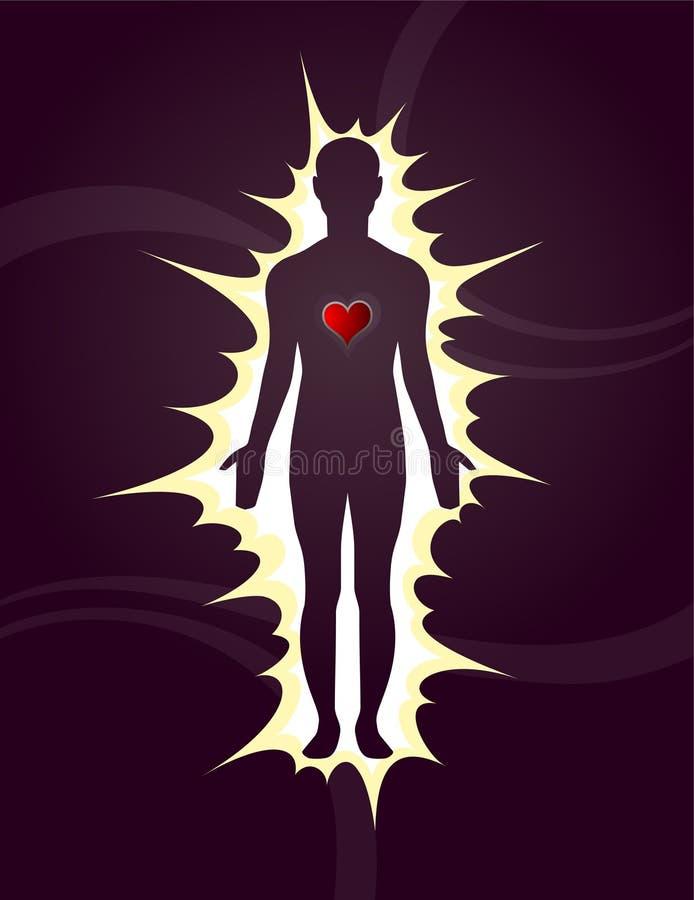 Ανθρώπινη σκιαγραφία με την καρδιά. Πυράκτωση και αγάπη διανυσματική απεικόνιση