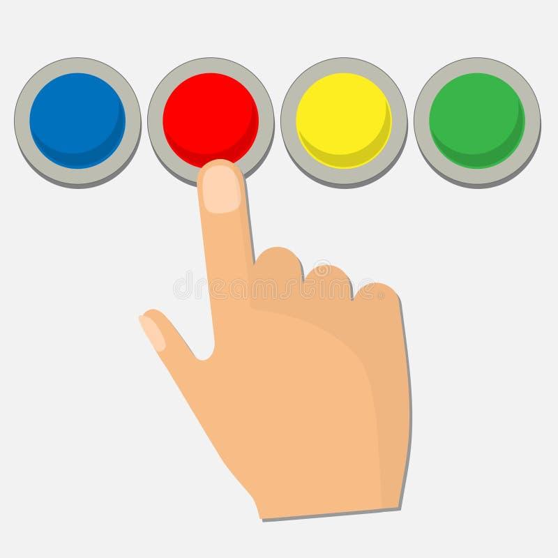 Ανθρώπινη συμπίεση χεριών ένα κόκκινο κουμπί διανυσματική απεικόνιση