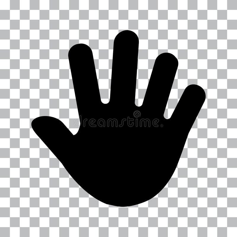 Ανθρώπινη τυπωμένη ύλη χεριών, παλάμη Μαύρες σκιαγραφίες r απεικόνιση αποθεμάτων