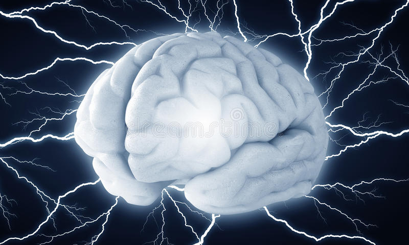 Ανθρώπινη ώθηση εγκεφάλου Μικτά μέσα στοκ φωτογραφία