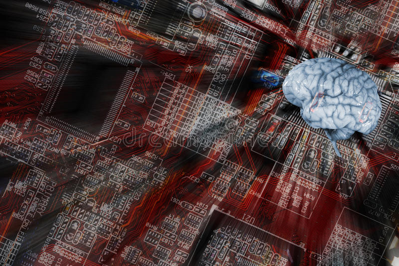 Ανθρώπινοι εγκέφαλος και επικοινωνία, artificial-intelligence στοκ εικόνες