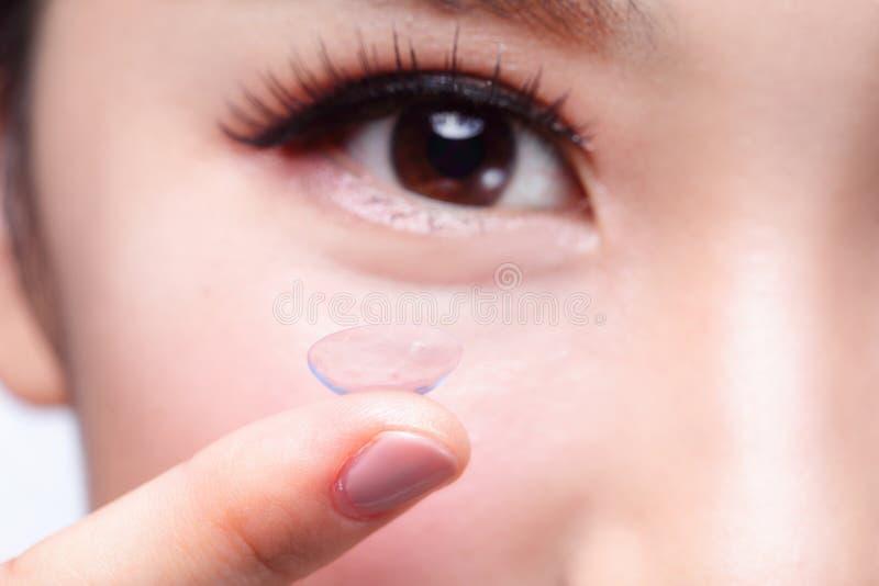 Ανθρώπινοι μάτι και φακός επαφής στοκ φωτογραφία με δικαίωμα ελεύθερης χρήσης
