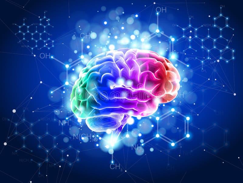 Ανθρώπινος εγκέφαλος σε ένα μπλε τεχνολογικό υπόβαθρο διανυσματική απεικόνιση