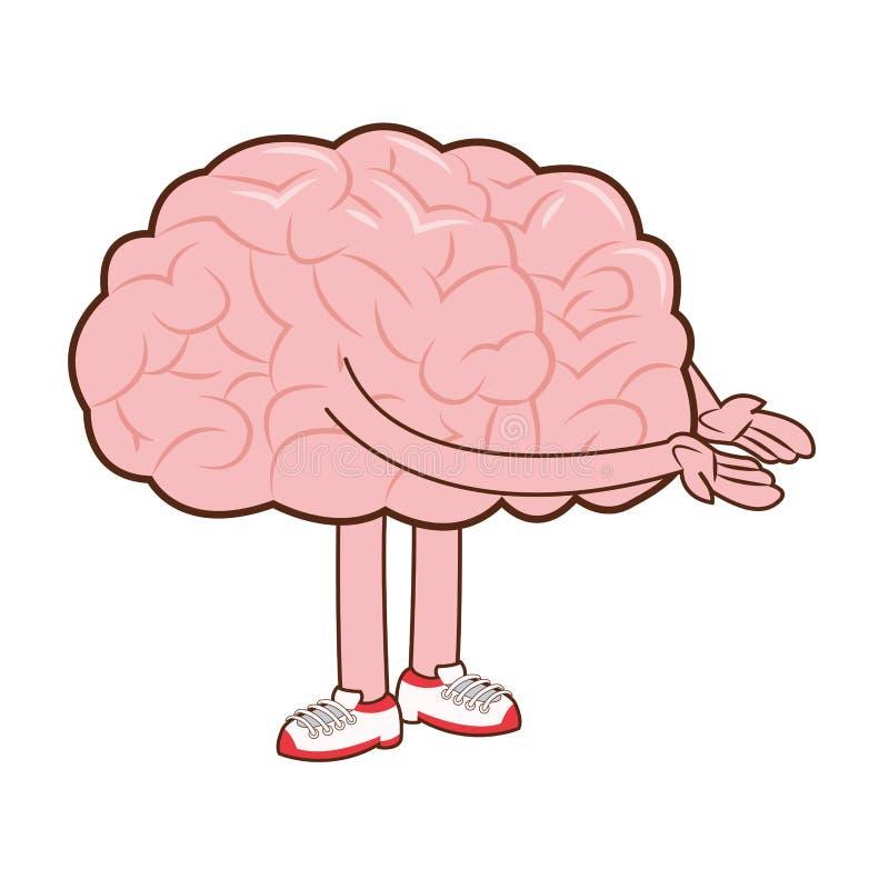 ανθρώπινος εγκέφαλος με το εικονίδιο όπλων και ποδιών ελεύθερη απεικόνιση δικαιώματος