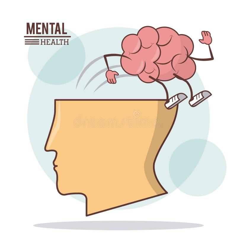 Ανθρώπινος επικεφαλής εγκέφαλος, πνευματικές υγείες με την προσοχή δραστηριότητας εγκεφάλου διανυσματική απεικόνιση